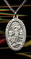St. Michael Small Oval Medal Sterling, # 11273