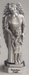 Guardian Angel With Girl Pewter Statue, # 12024