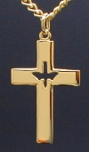 Holy Spirit Cross Necklace Gold, # 1495