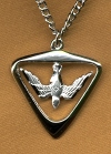 Large Triangular Holy Spirit Medal Sterling, # 1796