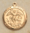St. Michael Medal 3/4 In. Gold on Sterling, # 19751