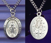 "3/4"" Miraculous Medal in Fine Sterling Silver, 18"" chain, # 20986"