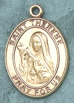 St. Therese 14kt Gold Oval Medal 1 IN.