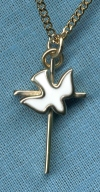 Holy Spirit Cross, 14kt Gold Filled with White Enamel, Your Choice of Chain # 2825