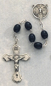 6x8mm Black Wood & Sterling Rosary, # 3968