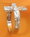 Men's Sterling Crucifix Ring  - Size 6 1/2, # 4776
