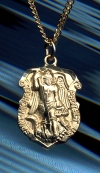 Shield St. Michael Medal Gold on Sterling, # 6736