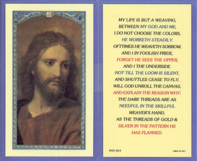 But A Weaving Laminated Holy Card, 25-pack, # 59032