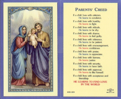Parent's Creed Holy Card