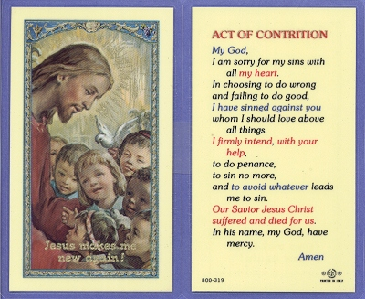 Act Of Contrition Laminated Holy Card, 25-pack, # 99979