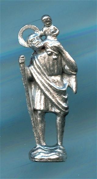 Miniature Metal Statue Italian St Christopher 59545