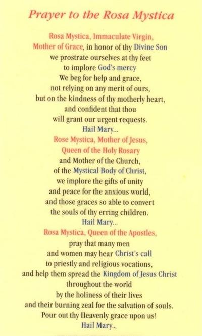 prayer and rosa A: the world association of the rosa mystica devotion especially promotes   mary links special prayer intentions to the three roses she wears instead of the.