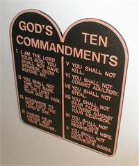 "Ten Commandments Plaque, Cast Aluminum 10"", Copper on Black, # 1101195"