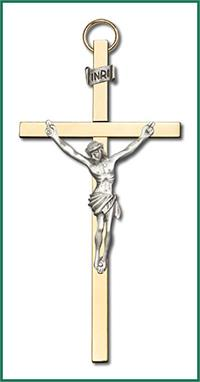 "4"" Crucifix, Silver Figure on Polished Brass Cross, # 1202"