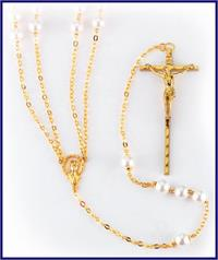 Gold Plated Imitation Pearl Lasso Rosary, # 1284