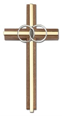 "6"" Wedding Cross, Walnut w/ Silver-Tone Rings & Polished Brass Inlay, # 1599"