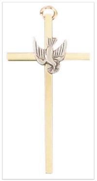 "4.25"" Holy Spirit Cross, Gold Plate & Pewter Finish, # 16115"