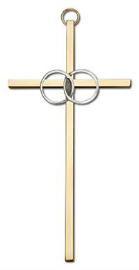 "6"" Wedding Cross, Silver-Tone Rings on Polished Brass Cross, # 1781"