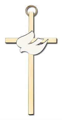 "4"" White Dove Cross, Silver-Tone on Polished Brass Cross, # 1813"