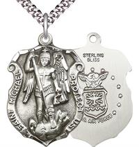 "St. Michael Shield / Air Force Medal, Sterling Silver, 1-1/4"" tall, Your Choice of Chain, # 1987"
