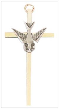 "4.25"" Holy Spirit Cross, Gold Plate & Pewter Finish, # 2056"