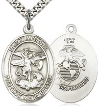 "St. Michael / Marine Corps Medal, 1"" tall, Sterling Silver, Your Choice of Chain, # 2064"