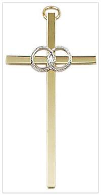 "4.25"" Wedding Cross, Gold Plate & Pewter Finish, # 20915"