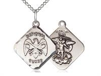 "St. Michael / National Guard Medal, Sterling Silver, 11/16"" tall, Your Choice of Chain, # 2332"