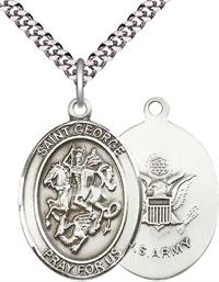 "St. George / Army Medal, 1"" tall, Fine Pewter, Your Choice of Chain, # 2363"