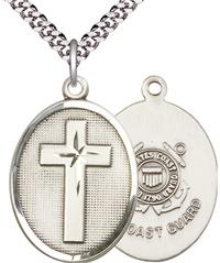 "Oval Cross & Coast Guard Medal, 1"" tall, Fine Pewter, Your Choice of Chain, # 2469"
