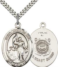 "St. Joan of Arc Coast Guard Medal, 1"" tall, Sterling Silver, Your Choice of Chain, # 2477"