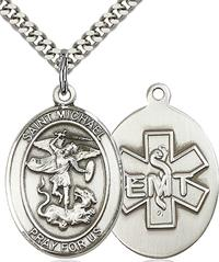 "St. Michael EMT Medal, Fine Pewter, 1"" tall, Your Choice of Chain, # 2651"