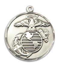 "Marine Corps Medal, Sterling Silver, 15/16"" dia, Your Choice of Chain, # 2676"