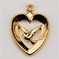 "G/SS HEART W/DOVE, 18"" CHAIN, # 41130."