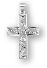 "1"" Polished Sterling Silver Cross, Chain of Your Choice # 42209"