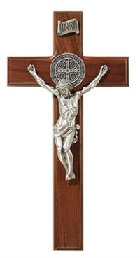 "10"" Walnut Saint Benedict Crucifix, # 4375"
