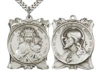 "1-1/4"" Our Lady of Czestochowa / Sacred Heart Medal, Sterling Silver, Your Choice of Chain, # 45085"