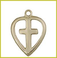 "1/2"" Cross Heart Necklace, Solid 14kt Gold, Free Chain, #, 45462"