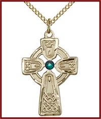 "1"" 14kt Gold Filled Celtic Cross, Your Choice of 3mm Swarovski Birthstone (Emerald Displayed), your choice of chain, # 48359"