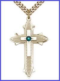 "1-3/8"" 14kt Gold Filled Cross, Your Choice of 3mm Swarovski Birthstone (Emerald Displayed), your choice of chain, # 48404"