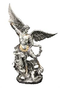 "10"" St. Michael Statue, Pewter Finish Resin, # 54245"