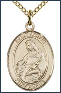 "14kt Gold Filled Medal, 3/4""x9/16"", St. Agnes of Rome, Your choice of chain, # 54891"