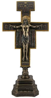 "22"" San Damiano Crucifix, Standing, Cold Cast Bronze, Highlighted, # 55738"