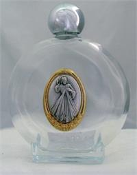 "4.5"" Holy Water Bottle, 8 oz., Glass with Divine Mercy Medallion, # 56989"