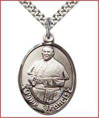 "1"" Oval Pope Francis Medal, Sterling Silver, Your Choice of Chain, # 63616"