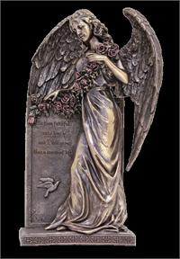 "10.5"" Sorrowful Standing Angel, Bronzed Resin, # 63883"