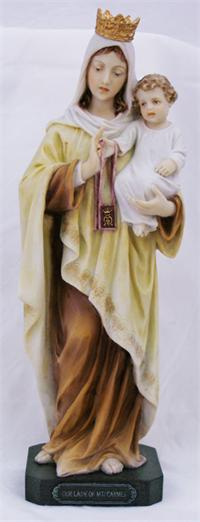 "10"" Our Lady of Mount Carmel Statue, Colored Resin, # 64139"