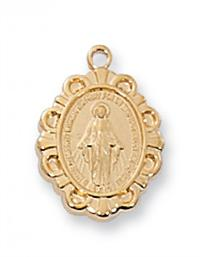 "1/2"" 18kt Gold over Sterling Miraculous Medal, 16"" Gold Plated Chain, # 64187"