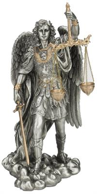 "11"" St. Michael with Scales, Bronze & Pewter Style Resin, # 65011"