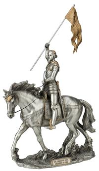 "10"" x 14"" St. Joan of Arc Statue, Pewter Finished Resin, # 65050"